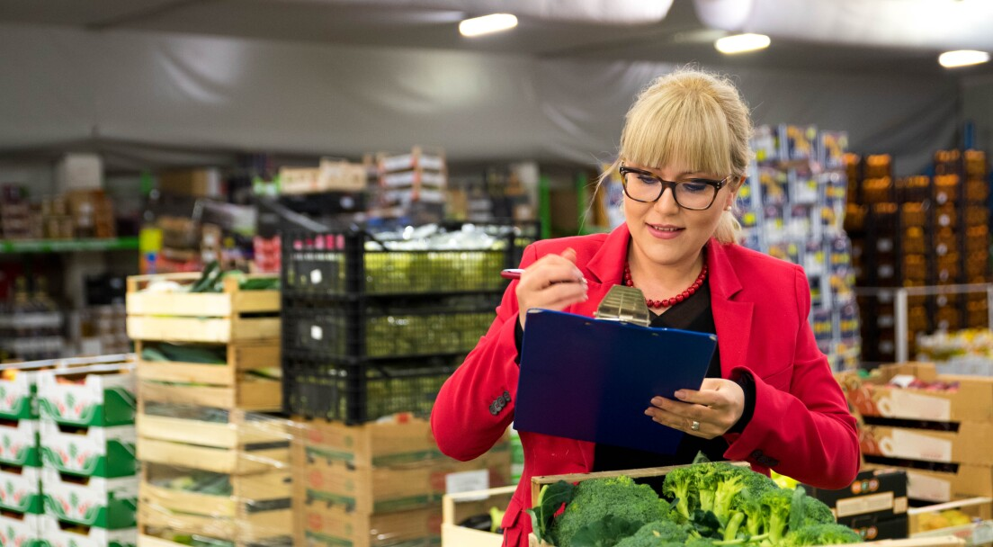 Young blond woman with eyeglasses, wearing a red jacket checking broccoli in a wooden crate at a fruit and vegetable warehouse.