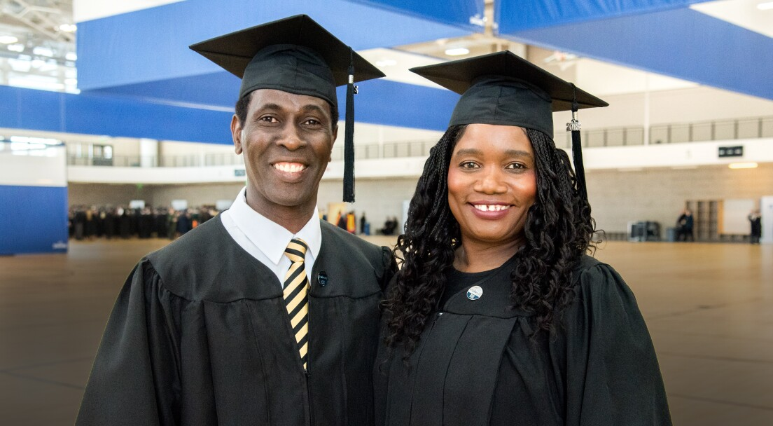 Judex Joseph and Marie Edelle Joseph from Haiti study in Applied Management graudated from Pathway program.